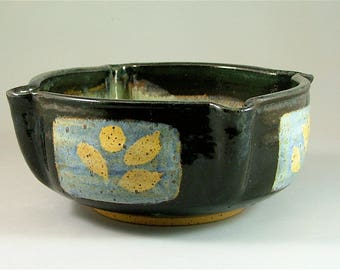 Thrown and Altered Pottery Bowl - Black, Ivory, Blue with Yellow Leaves  / Ceramic Serving Bowl
