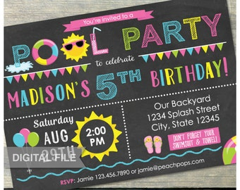 "Pool Birthday Party Invitation Chalkboard Pink Summer Swim Splash - Digital Invite - 5"" x 7"" - Digital Printable"