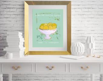 The Lemon Centerpiece ~ when life hands you lemons art print aqua backgroind