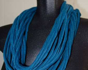 Teal Infinity Scarf/Loop Scarf with Velveteen Spaghetti Yarn Measures 60 inches OOAK Gift For Her