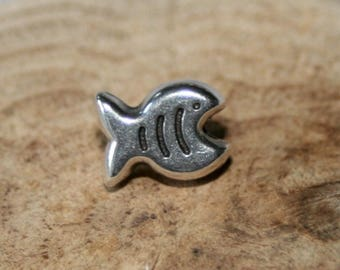 Perle Poisson 7x9mm antique silver metal
