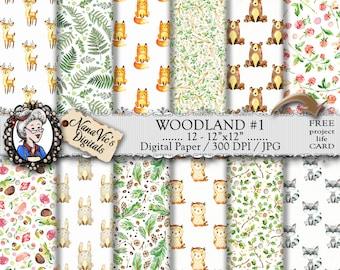 Woodland Digital Papers 1: fox, deer, bear, rabbit, raccoon, owl toile patterns, cute baby animal paper, forest woodland scrapbooking paper