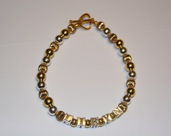 Sterling Silver and Gold plated name bracelet