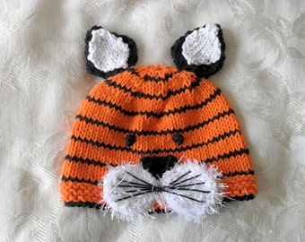 Baby Hat Knitting Knit Baby Hats Tiger Baby Beanie Knit Animal Hat Hand Knitted Baby Beanie Children Clothing Baby Knitted Hat
