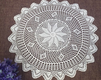 "Approx. 30"" inches round tablecloth, Floral crochet design table cover, Vintage style table topper for home decor, 100% handmade tablecloth"