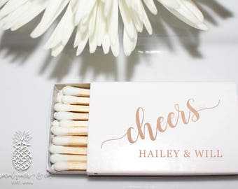 Cheers Personalized Wedding Favors   White Matchboxes   Hot Stamped Foil Social Graces & Company Party Paper Presents