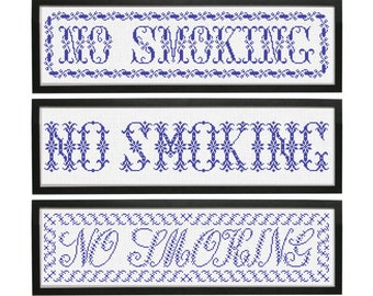 INSTANT DOWNLOAD No Smoking .pdf counted cross stitch patterns by Quiltify Design at thecottageneedle.com monochromatic