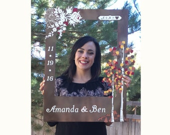 Custom Aspen Fall themed wedding photo booth prop with fall trees, aspen leaves and personalized with name and date