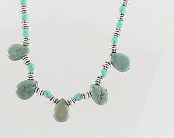 Necklace - Blue/Green Magnesite Teardrops & Silver (N020)