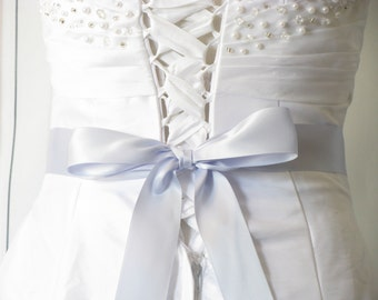 "Light Blue Wedding Dress Sash, 1 1/2"" or 2 1/4"" Wide, 2-4 Yards, Bridesmaid Flower Girl Sash, Dress Sash, Baby Blue Bridal Wedding Belt"