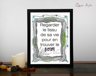 Text print zen, 8 x 10, 8-5 x 11, ENCADRE FLEURS AQUA, Art print, Zen illustration with inspiring quote, print  several formats. T005
