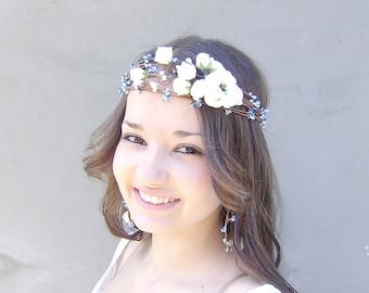 Something Blue Crown, Whimsical Flower Crown,  Bridal Wreath,  Bridal hair crown, Wedding flower head piece, White roses and blue berries