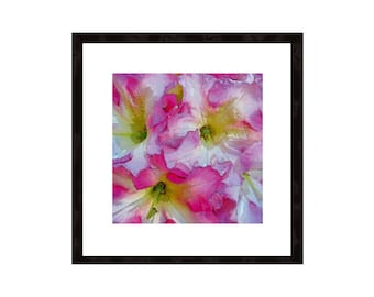 Floral Art Print, Rhododendron Wall Art, Large Poster Paper, Modern Contemporary Macro Botanical, Nature Decor, Pink Yellow White Flower