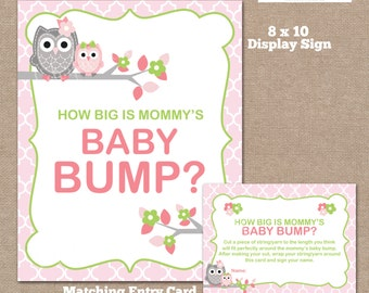 INSTANT DOWNLOAD, Owl How Big is Mommy's Belly Game, Belly Guessing Game, How Big is Mommy's Belly, Owl, #0002