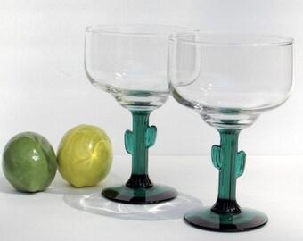 Southwestern Saguaro Cacti Glasses - Margarita Barware Pair