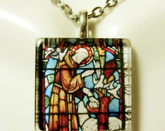 Saint Francis stained glass window pendant with chain - GP02-163