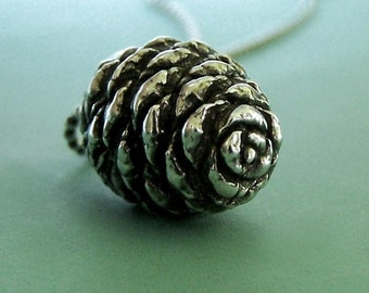 Pine Cone Necklace Sterling Silver Fir, Last Minute Gift, Free Shipping, Gardening Gift