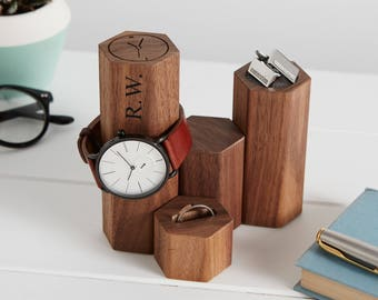Personalised Gents Hex Jewellery Stand / Watch Display Stand / Father's Day Gift / Dad Gift / Gift for Him