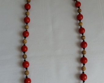 Red Vintage Chinese Cinnabar Necklace
