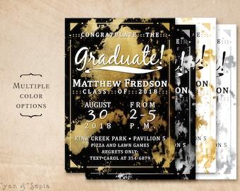 "Graduation Party Invitation, ""Foil"" Splots - Customized Printable 5x7 - Gold Silver Black White Metallic-Look Modern Grad Boy Girl Unisex"