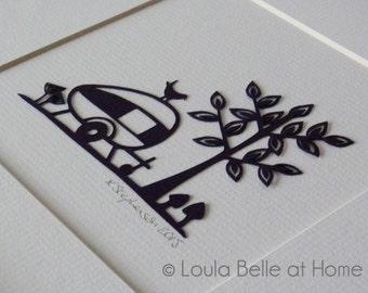 Caravan, an original mini papercut by Loula Belle at Home