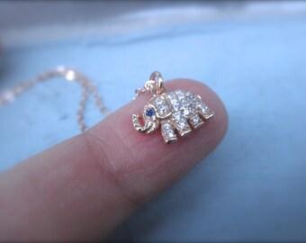CZ rose gold elephant  charm necklace