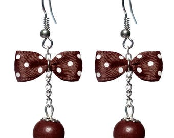Earrings inspired retro bow tie chocolate brown