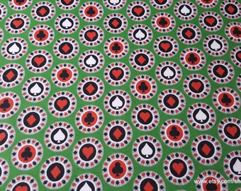 Flannel Fabric - Poker Chips - By the yard - 100% Cotton Flannel