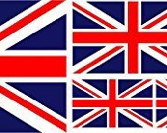 Pack of 6 Union Jack Flag Vinyl Stickers Sticker
