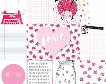 Love Bug Letters 12×12 Journal Card Cut-a-part