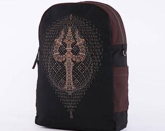 Psychedelic Backpack, Laptop Bag, Festival Backpack, Laptop Backpack 13-15-17 inch, Small Backpack, Uv Glow, Psytrance, Canvas Backpack