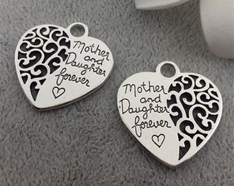 Mom and daughter charms-double sided heart charms 25 pcs -Double sided design-T0795