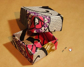 Boîte Anouck en tissu wax enduit