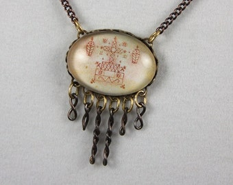 Baron Samedi, The Loa Patron of Death -- Voodoo Veve Talisman Necklace