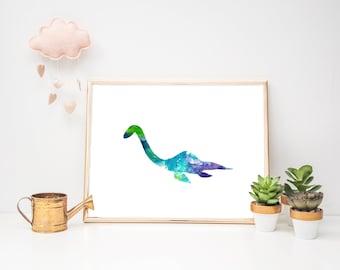 Nessie Watercolor Digital Print. 8x10. Loch Ness Monster.