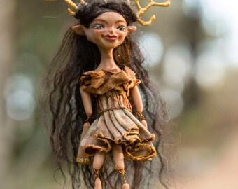 Dothie OOAK Dollie - Deer Girl Art Doll - Polymer Clay Sculpture - Posable Doll Ornament Animal Spirit Fantasy