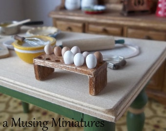 Country Egg Bench or Board Style Egg Holder in 1:12 Scale for Dollhouse Miniature Kitchen or Pantry