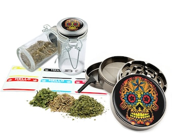 "Sugar Skull - 2.5"" Zinc Alloy Grinder & 75ml Locking Top Glass Jar Combo Gift Set Item # G021615-047"