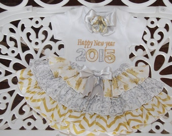 Fancy New Years Outfit! Baby/Toddler/Girls New Years Applique Top with Metallic Silver and Gold Ruffle Skirt and Bow!/Silver and gold