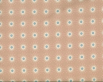 Fabric White Center Star Blue Gutermann beige background