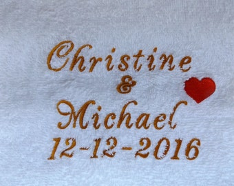 Personalised Luxury Towels / Aniversary / Wedding / Engagements