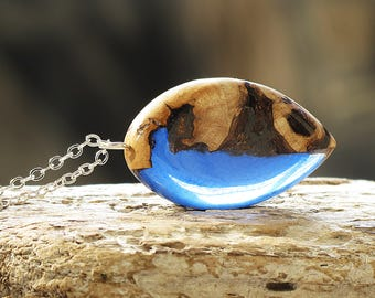 Nature Lovers Gift Blue Wood and Resin Necklace Bestie Gift Wood Resin Jewelry Summer Necklace Nature Jewelry Geometric Necklace