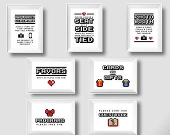 BUNDLE: 7 Video Game Wedding 8 Bit Signs, Gamer Wedding, Printable Wedding Signs, 5x7, 8x10, PDF format