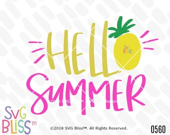 Hello Summer SVG DXF, Pineapple, Tropical, Vacation, Handlettered Design, Cricut & Silhouette Cutting File, Digital Download, Vector Art