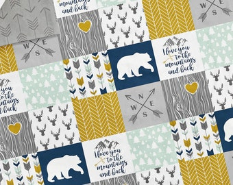 Baby Blanket - Faux Patchwork Quilt - Mountain Blanket - Bear Baby Blanket - Baby Gift - Boy Baby Blanket - Baby Blankets - Woodland Blanket
