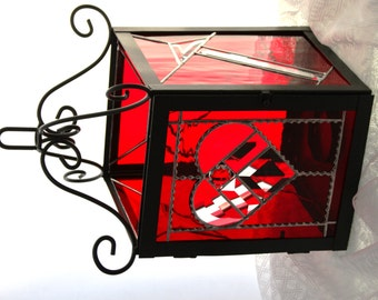 Happy Mother's Day Wrought Iron Stained Glass Lantern Candle Holder You Were My First Arrow