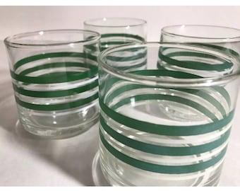Brunch Glasses Set of Four (4) Mid Century Juice glasses Green + White Striped