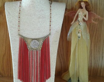 Red and gold Long pendant necklace, tassel necklaces, bohemian jewelry, boho necklace, fashion jewelry, Red necklace, Red tassel