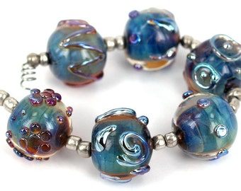 Lampwork glass beads Round Metallic Stones Lampwork beads (6) SRA, jewelry supplies, handmade lampwork, beads