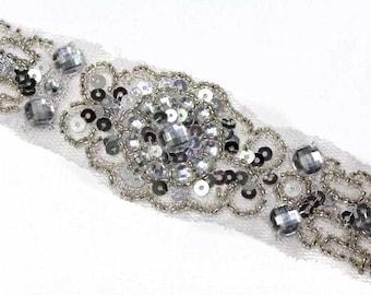 1 YARD Silver Rhinestones Beaded Trim for Wedding Bridal Evening Decor
